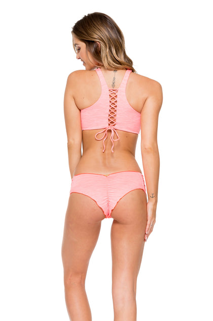 TAKE ME TO PARADISE - High Neck Top & Scrunch Ruched Back Brazilian Bottom • Coral
