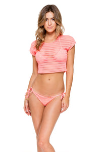 TAKE ME TO PARADISE - Cap Sleeve Crop Top & Wavey Ruched Back Brazilian Tie Side Bottom • Coral