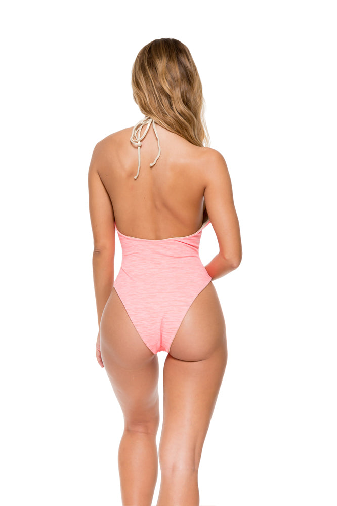 TAKE ME TO PARADISE - Plunge Cheeky One Piece • Coral