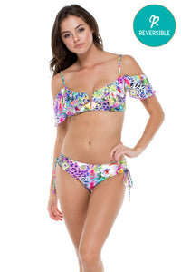 GUAJIRA SUPERSTAR - V Ruffle Top & Drawstring Side Full Bottom • Multicolor