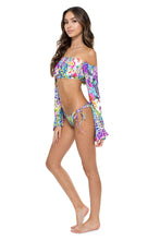 GUAJIRA SUPERSTAR - Tropicana Shoulder Top & Wavey Ruched Back Brazilian Tie Side Bottom • Multicolor