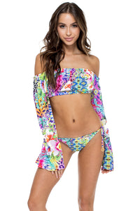 GUAJIRA SUPERSTAR - Tropicana Shoulder Top & Wavey Ruched Back Brazilian Tie Side Bottom • Multicolor (874557636652)