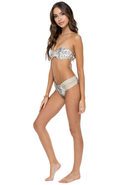 BOMBO - Alegria Bandeau Top & Scrunch Ruched Back Brazilian Bottom • Multicolor