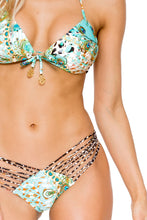 GUANTANAMERA - Molded Push Up Bandeau Halter Top & Strappy Brazilian Ruched Back Bottom • Multicolor