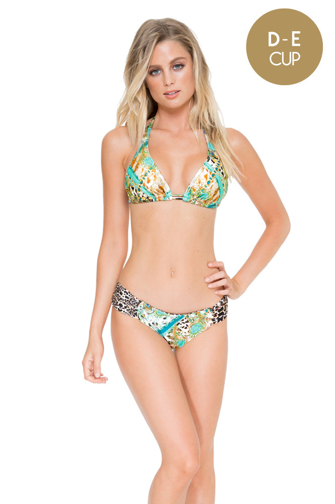 GUANTANAMERA - Triangle Halter Top & Scrunch Panty Full Bottom • Multicolor