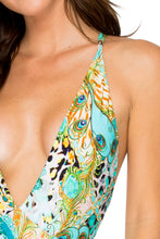GUANTANAMERA - Deep V Reversible Crossed Back One Piece Bodysuit • Multicolor