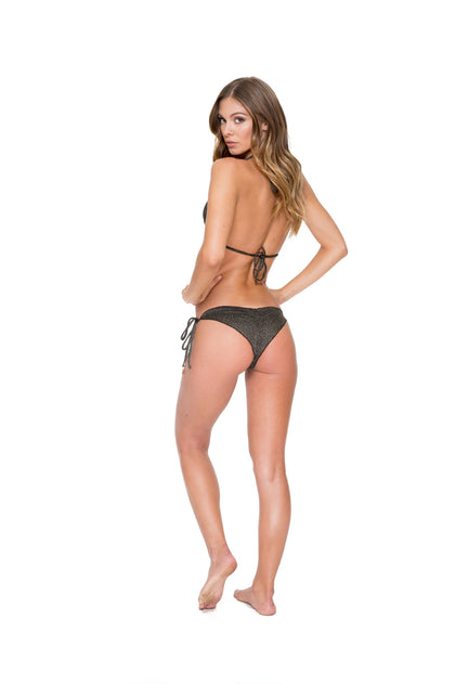 HAVANA NIGHTS - Triangle Top & Wavey Ruched Back Brazilian Tie Side Bottom • Black