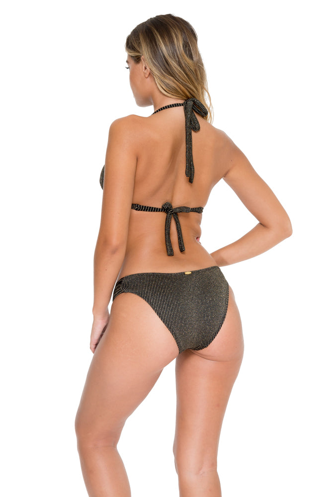 HAVANA NIGHTS - Triangle Halter Top & Scrunch Panty Full Bottom • Black