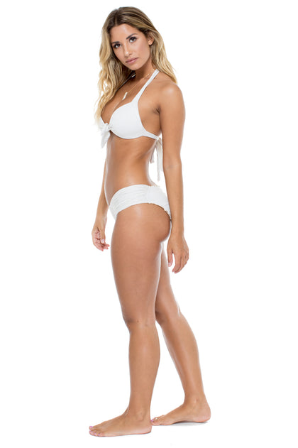 HAVANA NIGHTS - Lola Halter Top & Scrunch Full Ruched Back Bottom • White