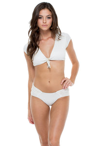 HAVANA NIGHTS - Señorita Crop Top & Scrunch Full Ruched Back Bottom • White