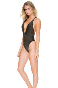 HAVANA NIGHTS - Deep V Crossed Back One Piece • Black