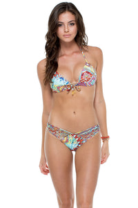 YEMAYA - Molded Push Up Bandeau Halter Top & Strappy Brazilian Ruched Back Bottom • Multicolor
