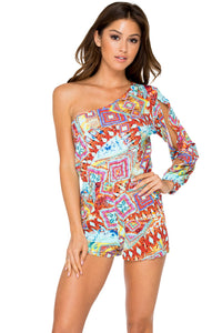 YEMAYA - One Shoulder Split Sleeve Romper • Multicolor