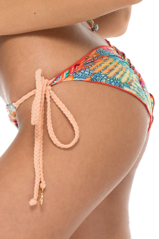 LA BELLA DE CUBA - Triangle Top & Wavey Ruched Back Brazilian Tie Side Bottom • Multicolor