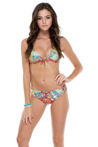 LA BELLA DE CUBA - Molded Push Up Bandeau Halter Top & Seamless Full Ruched Back Bottom • Multicolor (874563534892)