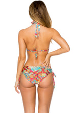 LA BELLA DE CUBA - Triangle Halter Top & Drawstring Side Full Bottom • Multicolor