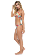 LA BELLA DE CUBA - Maite Halter Top & Wavey Ruched Back Brazilian Bottom • Multicolor