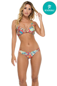 LA BELLA DE CUBA - Maite Halter Top & Wavey Ruched Back Brazilian Bottom • Multicolor (874562453548)