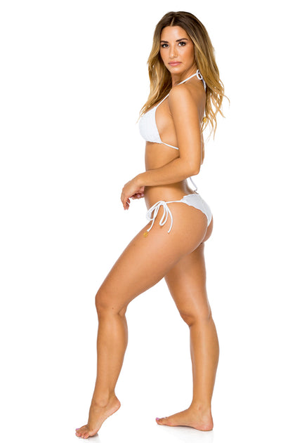 EL CARNAVAL - Triangle Top & Wavey Ruched Back Brazilian Tie Side Bottom • White
