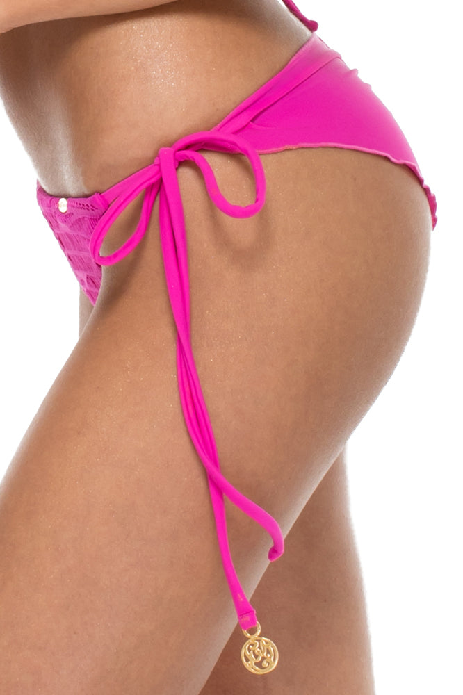 EL CARNAVAL - Triangle Top & Wavey Ruched Back Brazilian Tie Side Bottom • Fuchsia