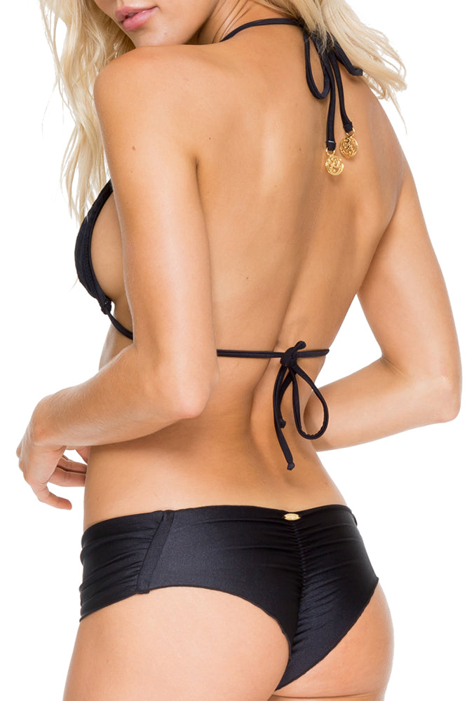 EL CARNAVAL - Triangle Top & Scrunch Ruched Back Brazilian Bottom • Black