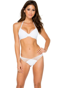 EL CARNAVAL - Push Up Underwire Top & Strappy Brazilian Ruched Back Bottom • White