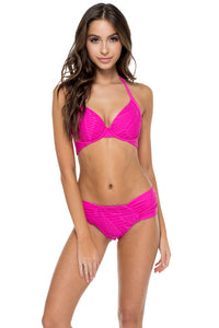 EL CARNAVAL - Push Up Underwire Top & Scrunch Ruched Back Brazilian Bottom • Fuchsia (874549674028)