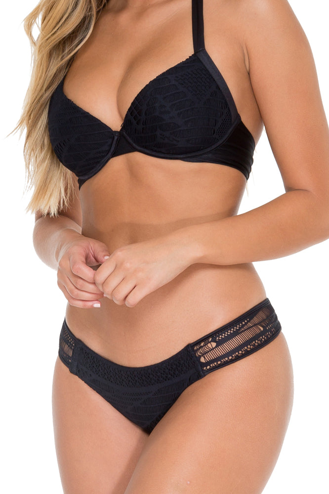 EL CARNAVAL - Push Up Underwire Top & Moderate Bottom • Black