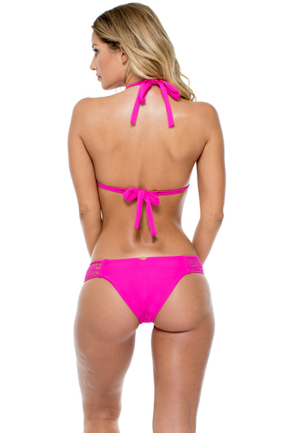 EL CARNAVAL - Triangle Halter Top & Moderate Bottom • Fuchsia