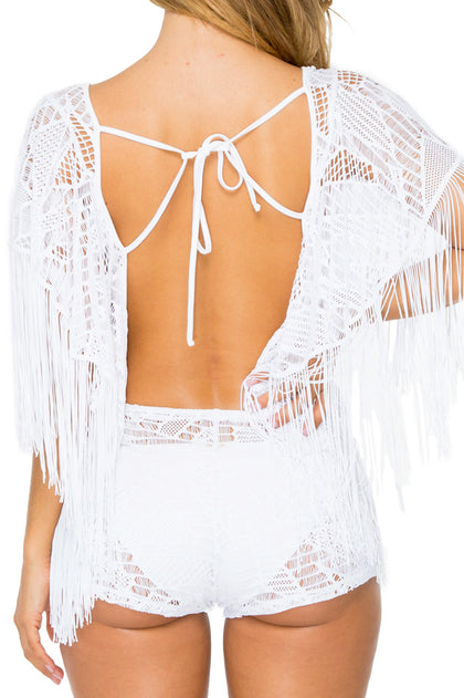 EL CARNAVAL - Open Back Butterfly Romper • White