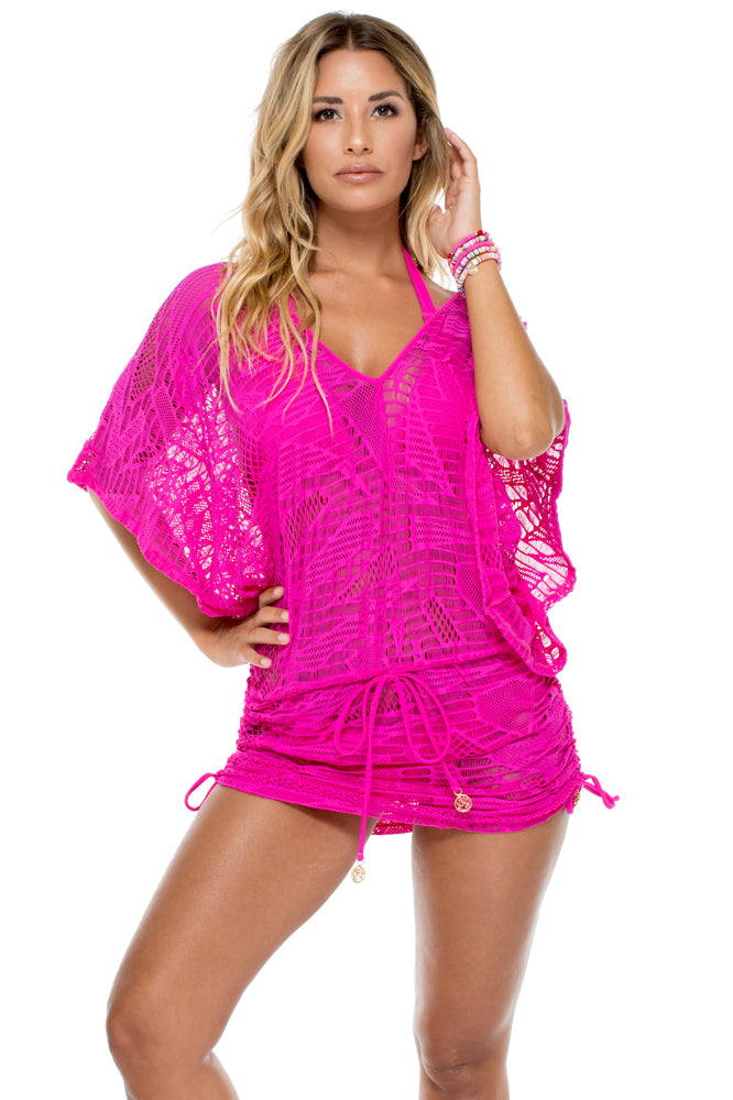 EL CARNAVAL - Cabana V Neck Dress • Fuchsia