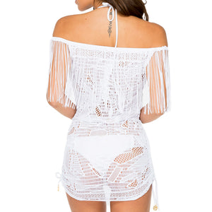 EL CARNAVAL - Fringe Off Shoulder Dress