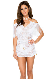 EL CARNAVAL - Fringe Off Shoulder Dress • White