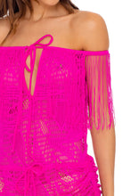 EL CARNAVAL - Fringe Off Shoulder Dress • Fuchsia