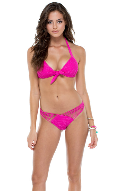 EL CARNAVAL - Lola Halter Top & Strappy Brazilian Ruched Back Bottom • Fuchsia
