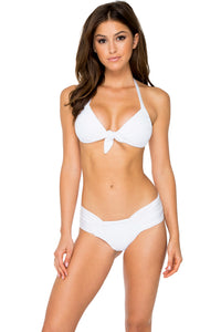 EL CARNAVAL - Lola Halter Top & Scrunch Ruched Back Brazilian Bottom • White