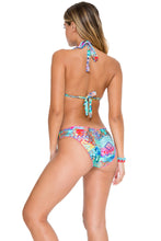 CAYO HUESO SO CLOSE - Triangle Halter Top & Seamless Full Ruched Back Bottom • Multicolor