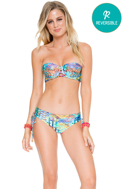 CAYO HUESO SO CLOSE - Angela Underwire Bandeau Top & Drawstring Side Full Bottom • Multicolor