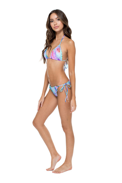 PALMARES - Wavey Triangle Top & Wavey Ruched Back Brazilian Tie Side Bottom • Multicolor