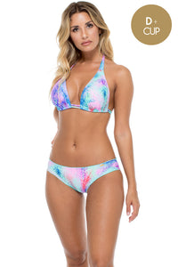 PALMARES - Triangle Halter Top & Full Ruched Back Bottom • Multicolor