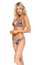 VIVA CUBA - Zig Zag Knotted Cut Out Triangle Top & Reversible Zig Zag Open Side Moderate Bottom • Multicolor