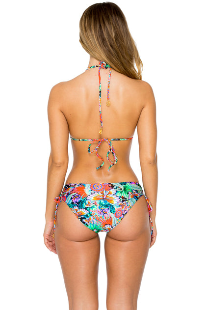 VIVA CUBA - Molded Push Up Bandeau Halter Top & Drawstring Side Full Bottom • Multicolor