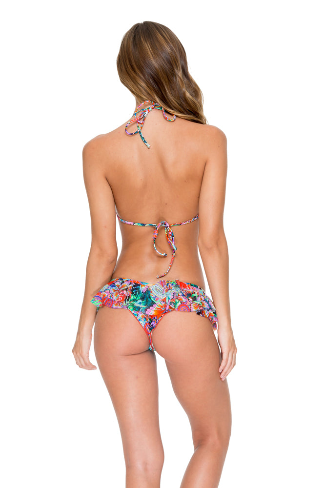VIVA CUBA - Molded Push Up Bandeau Halter Top & Casino Brazilian Bottom • Multicolor