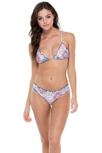 AZUCAR - Wavey Triangle Top & Wavey Ruched Back Brazilian Bottom • Multicolor