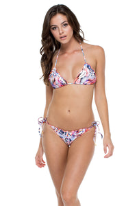 CIENFUEGOS - Wavey Triangle Top & Wavey Ruched Back Brazilian Tie Side Bottom • Multicolor