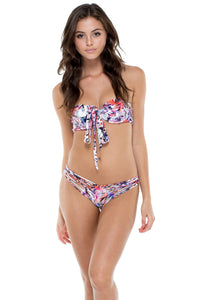 CIENFUEGOS - Fama Multi Way Underwire Bandeau Top & Strappy Brazilian Ruched Back Bottom • Multicolor