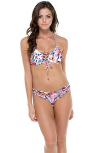 CIENFUEGOS - Molded Push Up Bandeau Halter Top & Strappy Brazilian Ruched Back Bottom • Multicolor