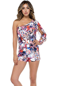 CIENFUEGOS - One Shoulder Split Sleeve Romper • Multicolor