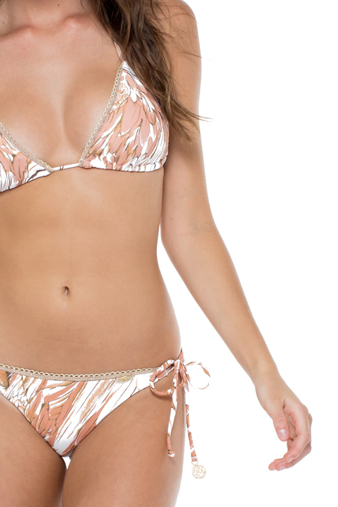 AMOR TABACO Y RON - Triangle Top & Wavey Ruched Back Brazilian Tie Side Bottom • Rose Gold