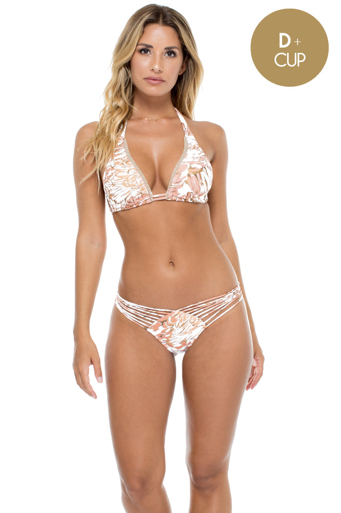 AMOR TABACO Y RON - Triangle Halter Top & Strappy Brazilian Ruched Back Bottom • Rose Gold